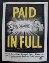 Paid in Full (1950) - Lizabeth Scott | Vintage Trade Ad